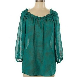 CHAPS Green Paisley Sheer Peasant Top Size Large